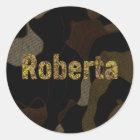 Personalisiertes Militär tarnt Schriftart Roberta Runder Aufkleber