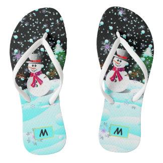 """Personalisiertes Monogramm der Snowman-""""frohen Flip Flops"""