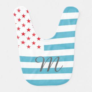 Personalisiertes Monogramm des US Flagge Babylätzchen