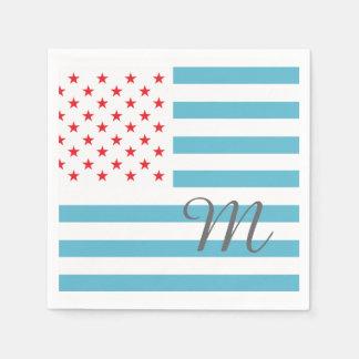 Personalisiertes Monogramm des US Flagge Papierservietten