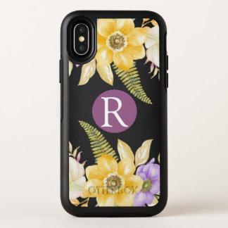 Personalisiertes Monogramm-Gelb-lila Blumen OtterBox Symmetry iPhone X Hülle