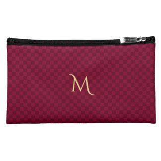 Personalisiertes Monogramm-modernes rotes Makeup-Tasche