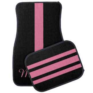 Personalisiertes Monogramm-rosa und schwarzer Auto Fussmatte