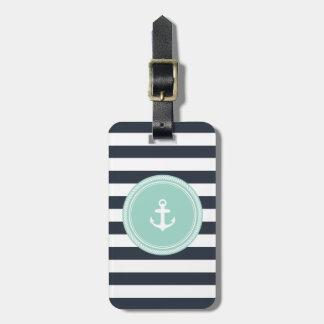 Personalisiertes Monogramm Seafoam und Marine Koffer Anhänger