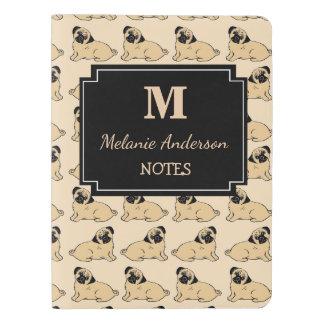Personalisiertes Mops-Druck-Monogramm-Notizbuch Extra Großes Moleskine Notizbuch