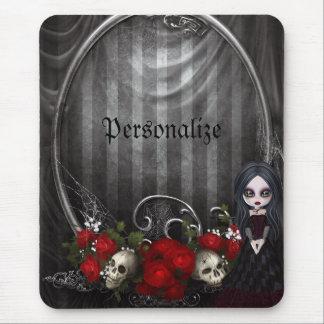 Personalisiertes Mousepad - Goth Mädchen, Schädel