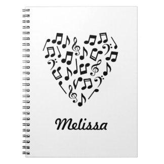 Personalisiertes Musik-Herz-Notizbuch Spiral Notizblock