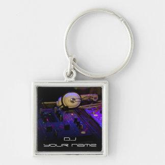 Personalisiertes Namen-DJ keychain Silberfarbener Quadratischer Schlüsselanhänger