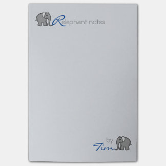 "Personalisiertes Namens""RElephant merkt"" Grau und Post-it Haftnotiz"