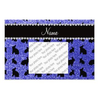 Personalisiertes Namensblaues Glitterneonhäschen Photodruck