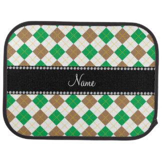 Personalisiertes Namensbrown und grüne Raute Autofußmatte