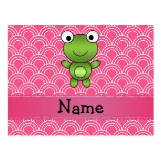 Personalisiertes Namensfroschrosa-Halbkreismuster Postkarte