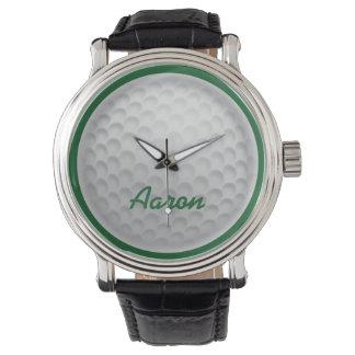 Personalisiertes Namensgolf-Ball-Golf spielendes Uhr