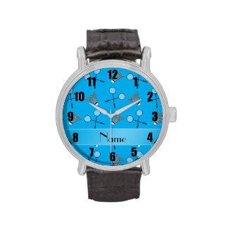 Personalisiertes Namenshimmelblau-Badmintonmuster Armbanduhr