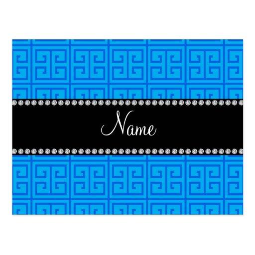 Personalisiertes Namenshimmelblaugriechisches Postkarten