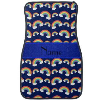 Personalisiertes Namensmarineblau-Regenbogenmuster Autofußmatte