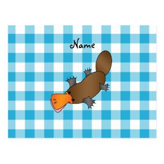 Personalisiertes Namensplatypus Blau-Schachbrett Postkarten