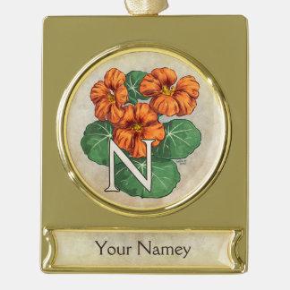 Personalisiertes Nasturiums Blumen-Monogramm Banner-Ornament Gold