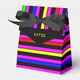 Personalisiertes Neon Stripes Gastgeschenk-Kasten Geschenkschachtel