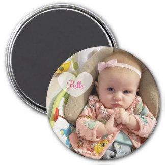 Personalisiertes neues Baby-Foto und Namen-Magnet Runder Magnet 7,6 Cm