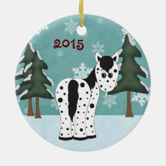 Personalisiertes niedliches Leopardappaloosa-Pferd Keramik Ornament