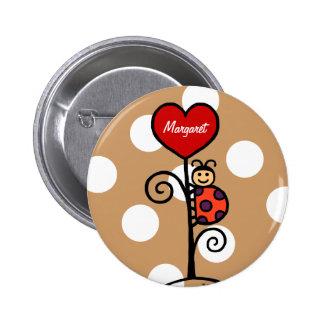Personalisiertes niedliches Marienkäferzeichnen Runder Button 5,7 Cm