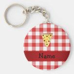 Personalisiertes niedliches Pizzanamensrot checker Schlüsselbänder