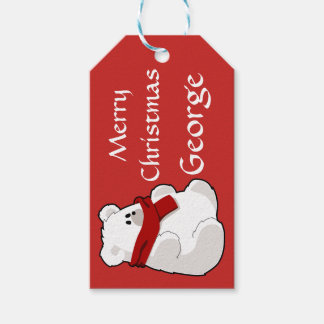Personalisiertes niedliches Rot des polaren Bären Geschenkanhänger