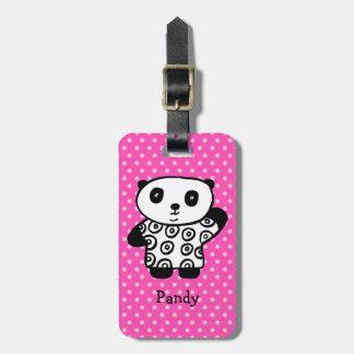 Personalisiertes Pandy der Panda-Polka-Punkt Kofferanhänger