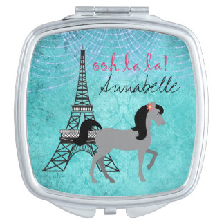 Personalisiertes Paris-Pony-oh La-La-Grau-Pferd Taschenspiegel