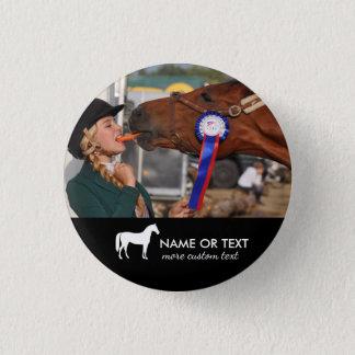 Personalisiertes Pferderuecken-Reitreiter-Foto Runder Button 2,5 Cm