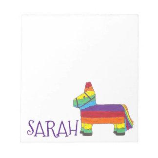 Personalisiertes Regenbogen-Esel Piñata Notizblock