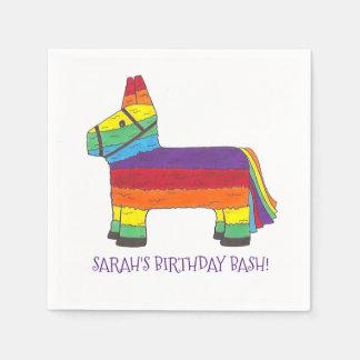 Personalisiertes Regenbogen-Esel Piñata Papierserviette