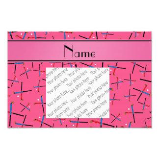 Personalisiertes rosa Feldhockeynamensmuster Photo Druck