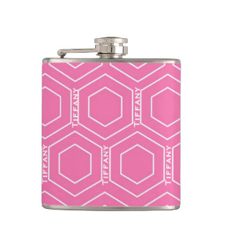 Personalisiertes rosa geometrisches flachmann