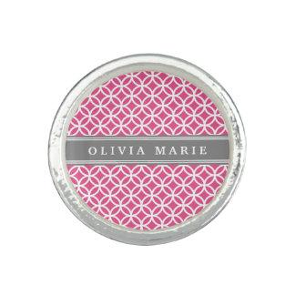 Personalisiertes rosa modernes Kreis-Namensmuster Ring