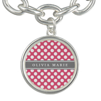 Personalisiertes rosa Polka-Punkt-Namensmuster Charm Armband