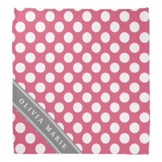 Personalisiertes rosa Polka-Punkt-Namensmuster Halstuch