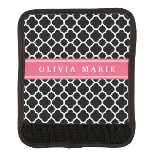 Personalisiertes rosa schwarzes Quatrefoil Muster Gepäck Markierung