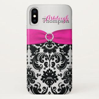 Personalisiertes rosa, schwarzes, silbernes Damast iPhone X Hülle