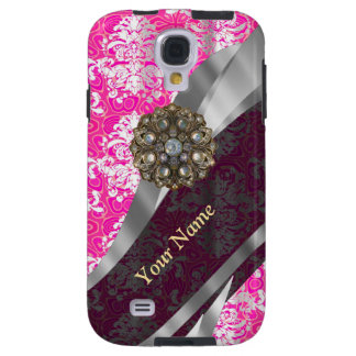 Personalisiertes rosa und weißes Damastmuster Galaxy S4 Hülle