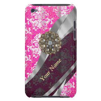 Personalisiertes rosa und weißes Damastmuster iPod Case-Mate Hüllen