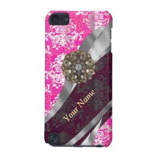 Personalisiertes rosa und weißes Damastmuster iPod Touch 5G Hülle