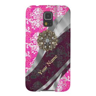 Personalisiertes rosa und weißes Damastmuster Samsung S5 Hüllen