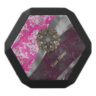 Personalisiertes rosa und weißes Damastmuster Schwarze Bluetooth Lautsprecher