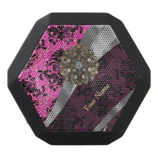 Personalisiertes rosa Vintages Damastmuster Schwarze Bluetooth Lautsprecher
