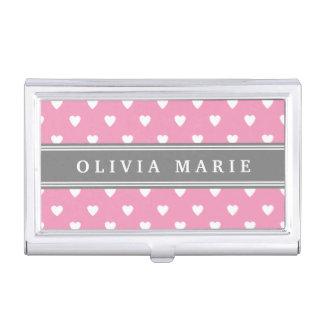 Personalisiertes rosa weißes Herz-Namensmuster Visitenkarten Dose