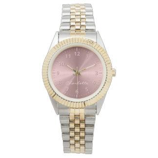 Personalisiertes Rosen-Goldrostfreier Stahl Armbanduhr