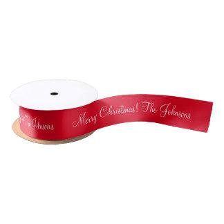Personalisiertes rotes Band der frohen Weihnachten Satinband