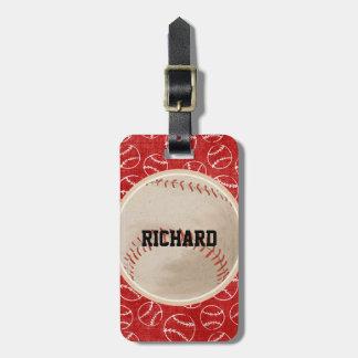 Personalisiertes rotes Baseball-Muster mit Gepäckanhänger